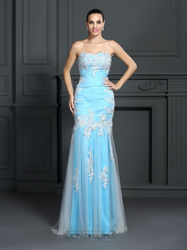 Chicregina Long Trumpet/Mermaid Strapless Elastic Woven Satin Dress with Embroidery