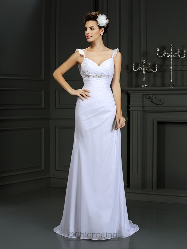 Chicregina Trumpet/Mermaid Straps Court Train Chiffon Wedding Dress with Beading