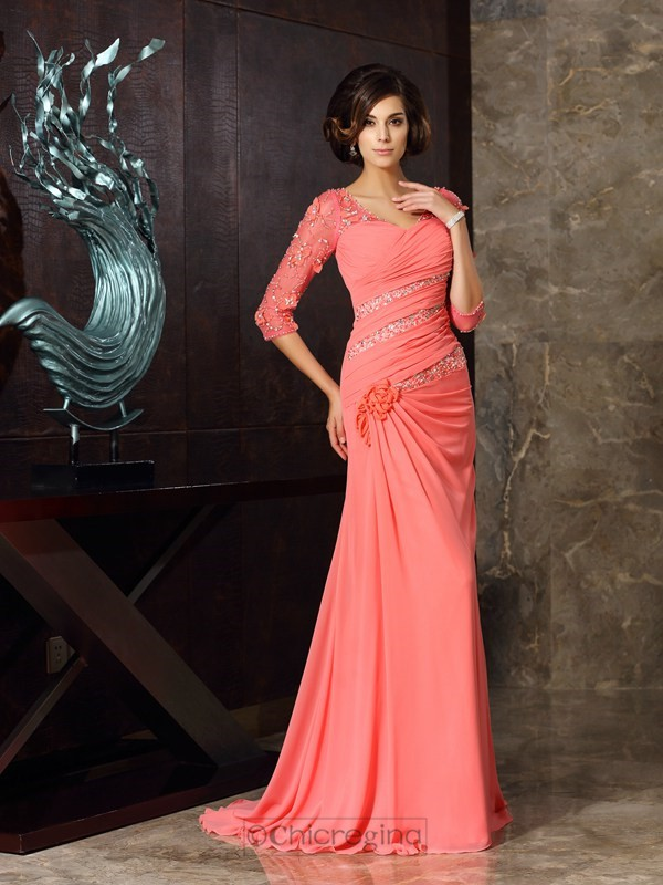 Chicregina Trumpet/Mermaid Sweetheart 1/2 Sleeves Sweep/Brush Train Chiffon Mother Of The Bride Dress with Ruched