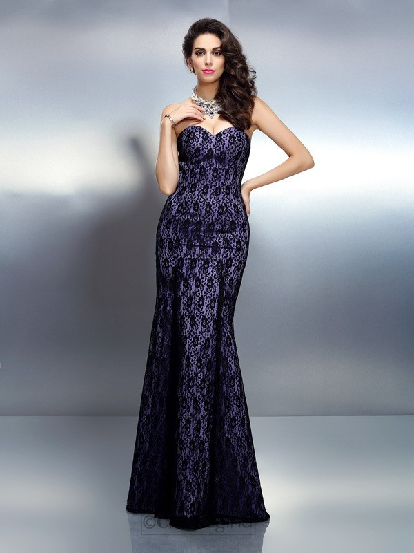 Chicregina Long Trumpet/Mermaid Sweetheart Lace Satin Dress with Beading