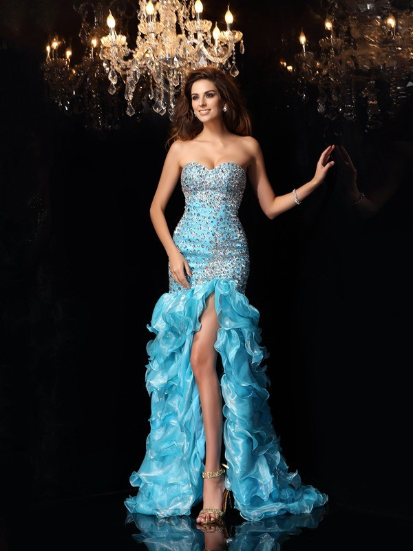 Chicregina Trumpet/Mermaid Sweetheart Organza Asymmetrical Dress with Ruffles
