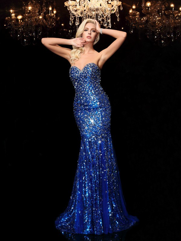 Chicregina Trumpet/Mermaid Sweetheart Sequins Court Train Dress with Pleats