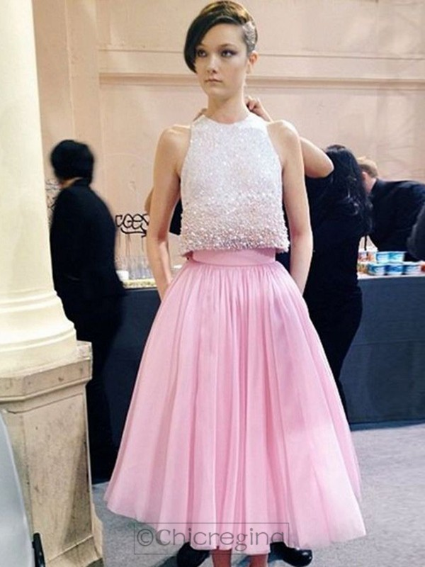 A-Line/Princess Scoop Sleeveless Tea-Length Tulle Dress With Beading