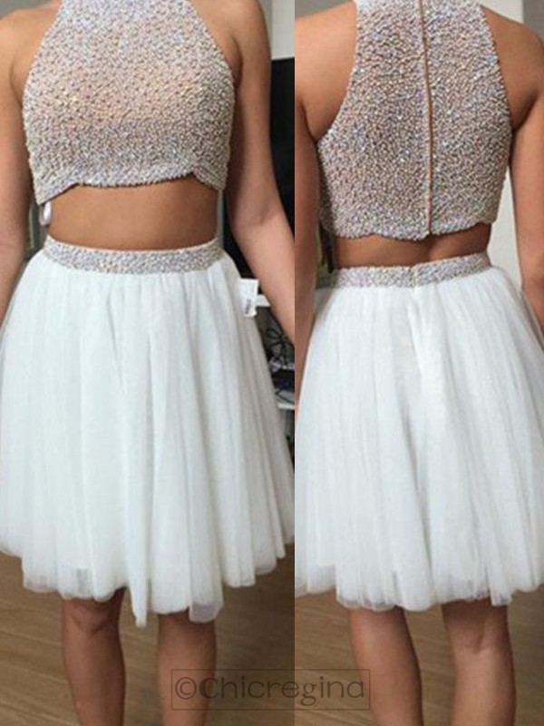 A-Line/Princess Sleeveless High Neck Tulle Short/Mini Two Piece Dress With Beading