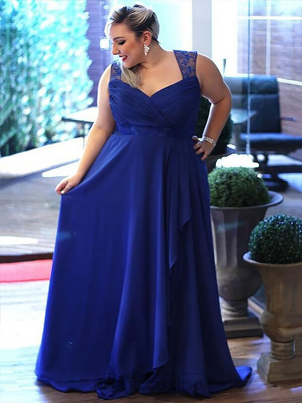 A-Line/Princess Sleeveless V-neck Sweep/Brush Train Chiffon Plus Size Dress With Lace