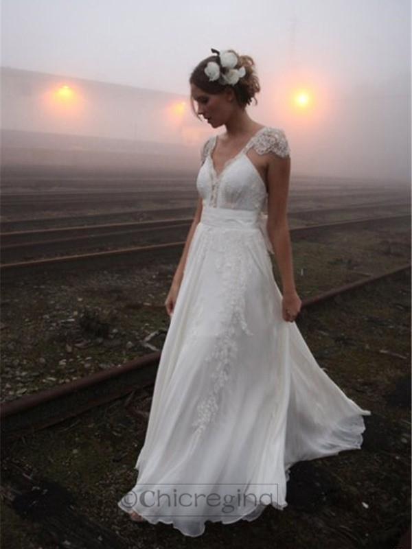 A-Line/Princess V-neck Floor-Length Sleeveless Chiffon Wedding Dress With Lace