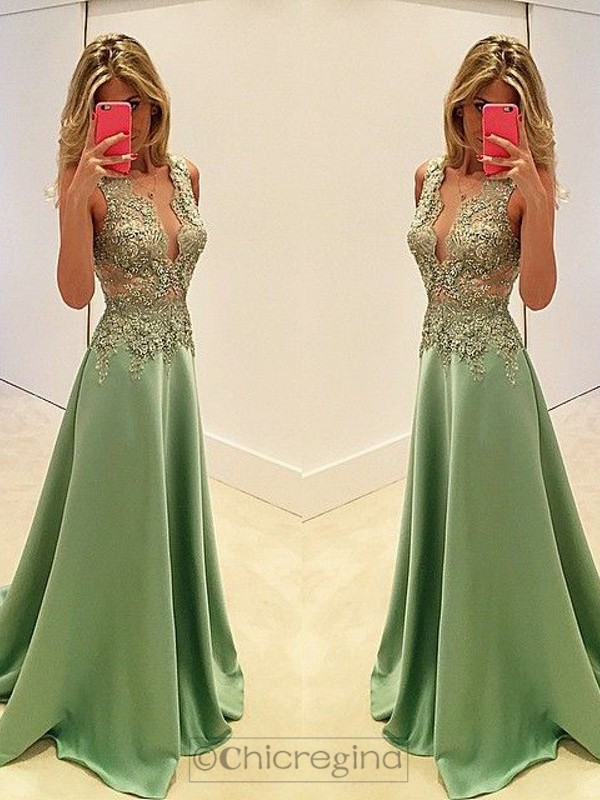 A-Line/Princess V-neck Long Sleeveless Sweep/Brush Train Satin Dress With Appliques