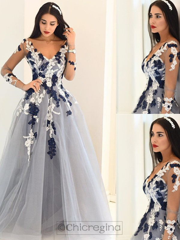 A-Line/Princess V-Neck Long Sleeves Tulle Floor-Length Dress With Appliques