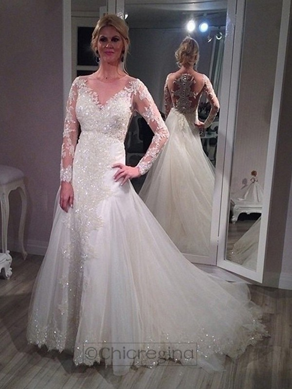 A-Line/Princess V-neck Sweep/Brush Train Long Sleeves Tulle Wedding Dress With Sequin