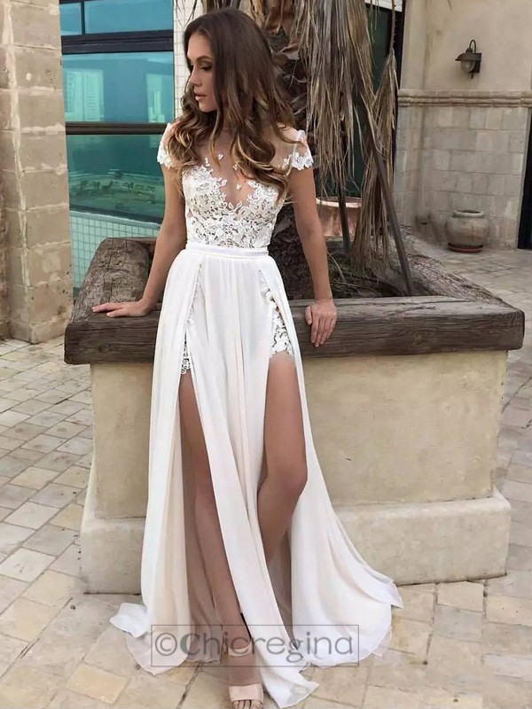 A-Line V-neck Sweep/Brush Train Sleeveless Chiffon Wedding Dress With Lace
