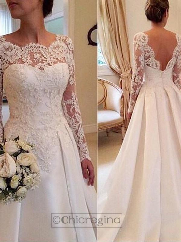 Ball Gown Scoop Long Sleeves Court Train Satin Wedding Dress With Lace