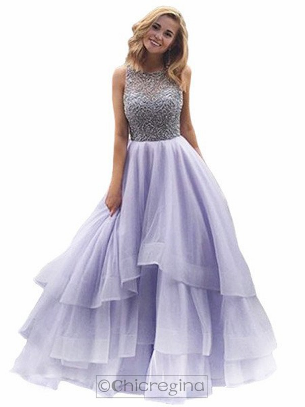 Ball Gown Scoop Sleeveless Long Organza Dress With Beading