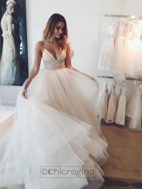 Ball Gown Spaghetti Straps Sleeveless Court Train Tulle Wedding Dress With Crystal