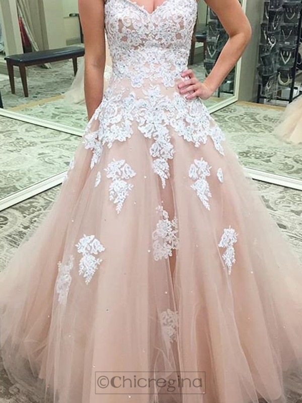 Ball Gown Sweetheart Sleeveless Tulle Long Dresses With Appliques