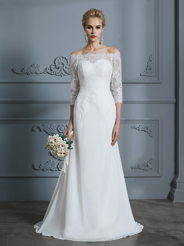 Trumpet/Mermaid Off-the-Shoulder Chiffon 1/2 Sleeves Sweep/Brush Train Wedding Dresses