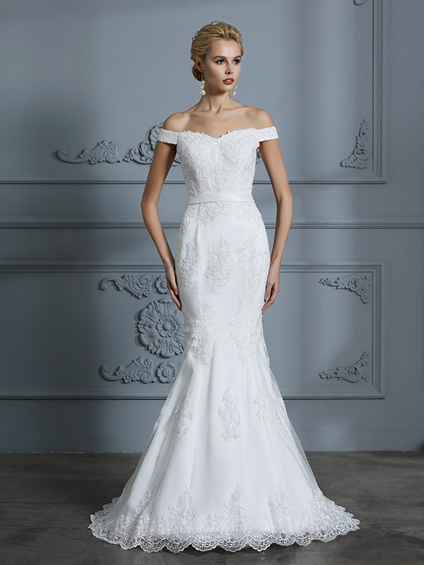 Trumpet/Mermaid Off-the-Shoulder Lace Sleeveless Sweep/Brush Train Tulle Wedding Dresses