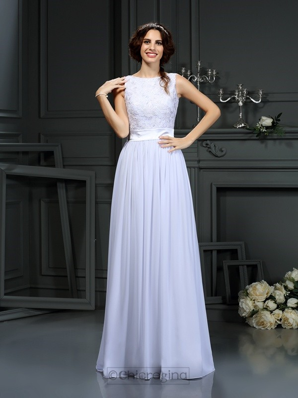 Chicregina A-Line/Princess Scoop Lace Chiffon Floor-Length Wedding Dress With Beading