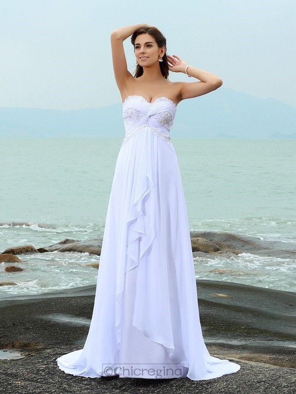 Chicregina A-Line/Princess Sweetheart Sweep Train Chiffon Wedding Dress with Sash