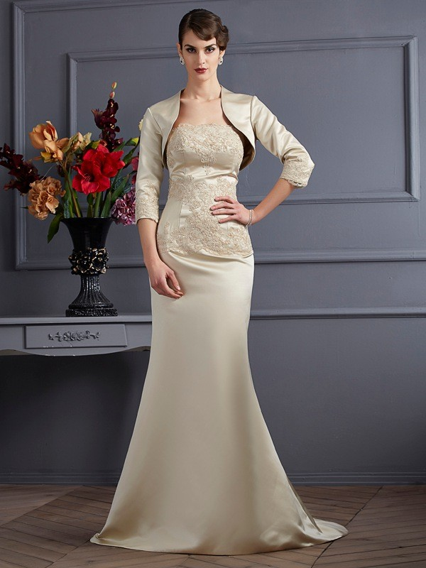 Women's Satin Applique 3/4 Sleeves Special Occasion Wrap