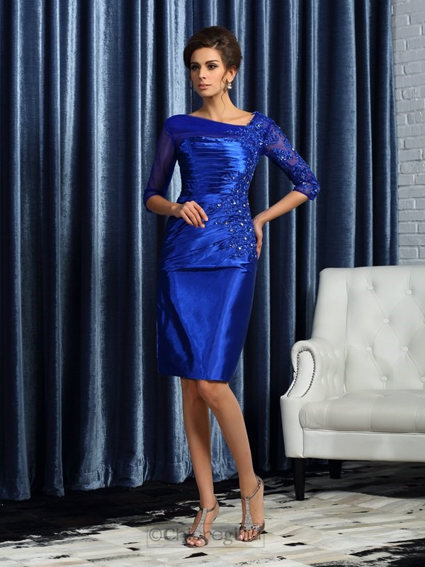 Chicregina Column 3/4 Sleeves Elastic Woven Satin Knee-Length Mother of the Bride Dress With Beading
