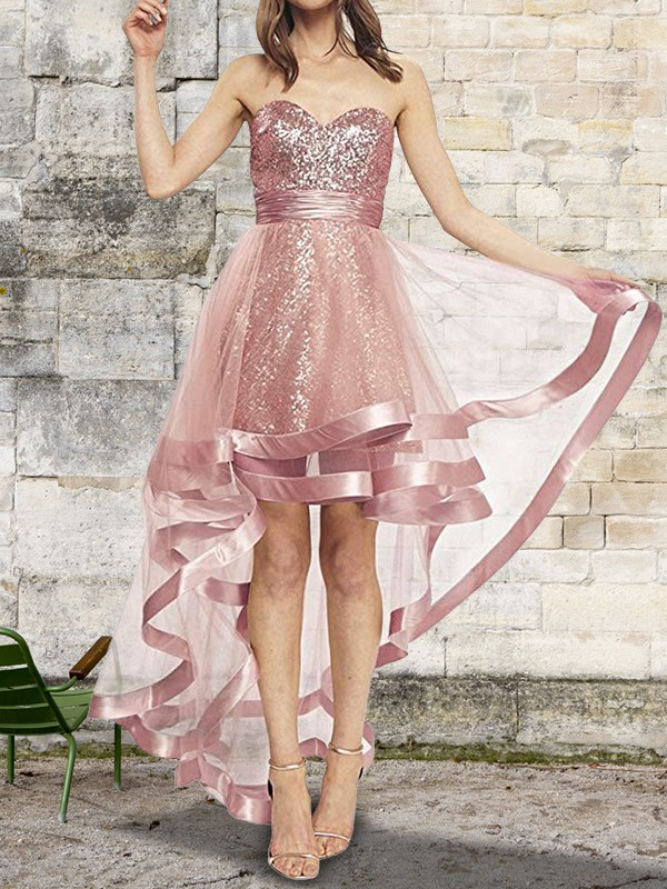 A-Line/Princess Sweetheart Sleeveless Asymmetrical Sequin Organza Dresses