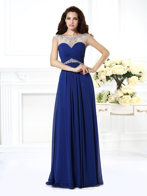 Chicregina Long A-Line/Princess Bateau Chiffon Dress With Rhinestone