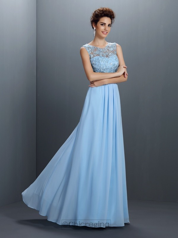 Chicregina Long A-Line/Princess Bateau Chiffon Dress With Ruffles