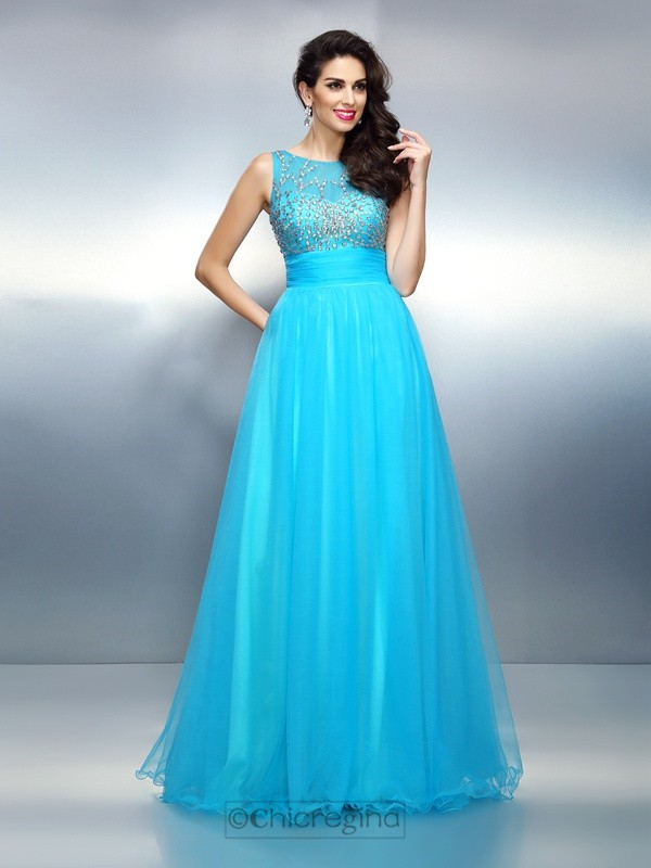 Chicregina Long A-Line/Princess Bateau Elastic Woven Satin Dress with Rhinestone
