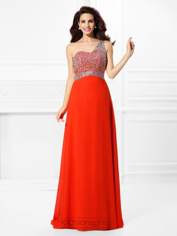 Chicregina Long A-Line/Princess One-Shoulder Chiffon Prom Dress With Sash
