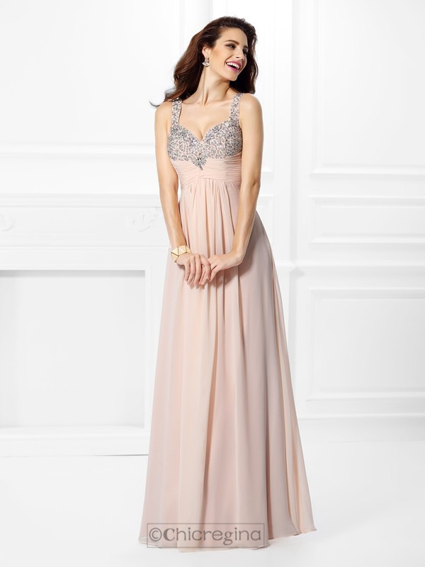 Chicregina Long A-Line/Princess Straps Chiffon Dress with Applique Beading