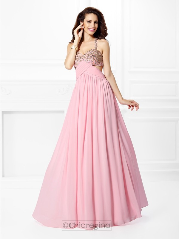 Chicregina Long A-Line/Princess Straps Chiffon Dress With Lace Beading