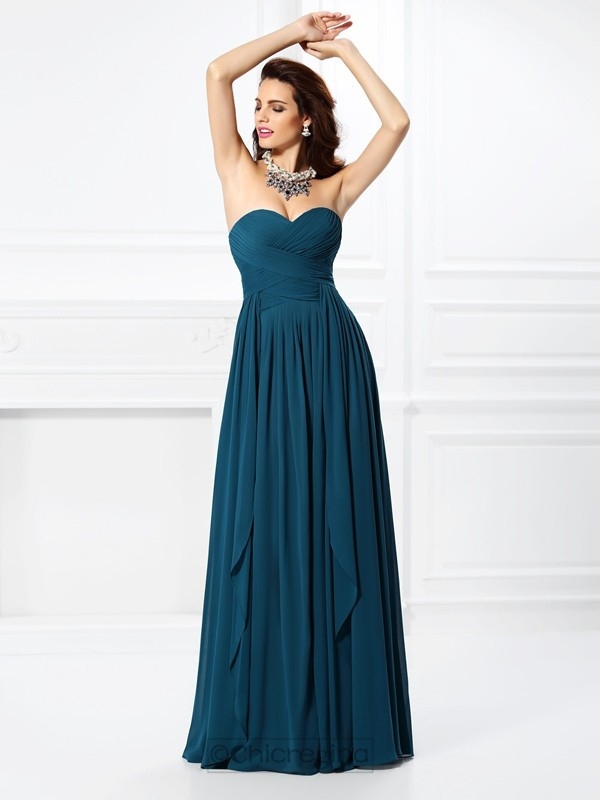 Chicregina Long A-Line/Princess Sweetheart Chiffon Dress with Pleats Ruffles