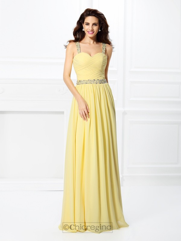 Chicregina Long A-Line/Princess Sweetheart Chiffon Prom Dress With Ruffles