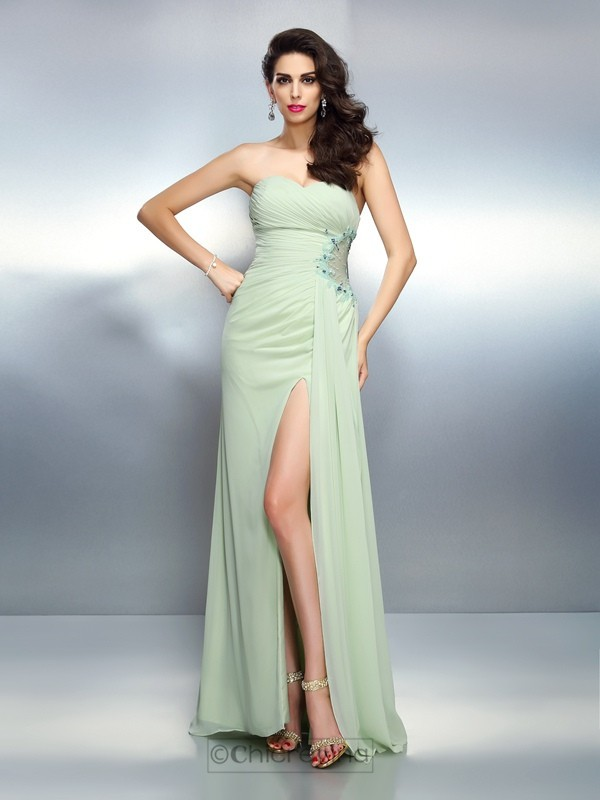 Chicregina Long A-Line/Princess Sweetheart Pleats Chiffon Dress With Rhinestone