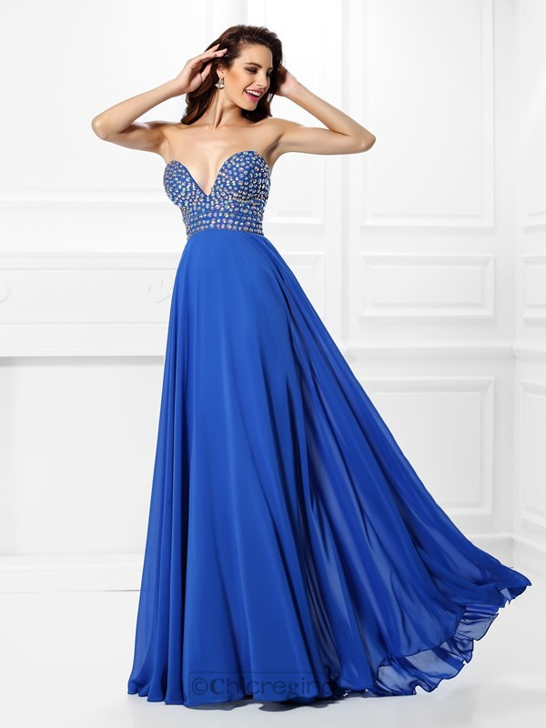 Chicregina Long A-Line/Princess V-neck Chiffon Prom Dress With Lace Beading