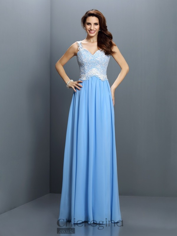 Chicregina Long A-Line/Princess V-neck Straps Chiffon Lace Prom Dress with Embroidery