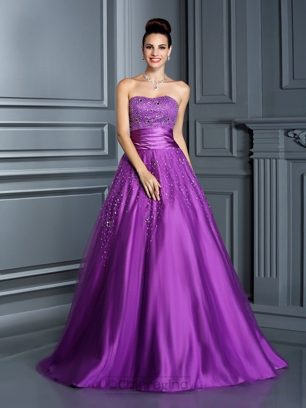 Chicregina Long Sweetheart Beading Satin Ball Gown Dress with Sash