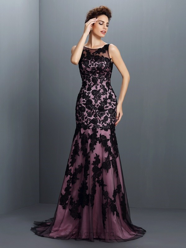 Trumpet/Mermaid Bateau Elastic Woven Satin Sweep/Brush Train Dresses With Beading Applique