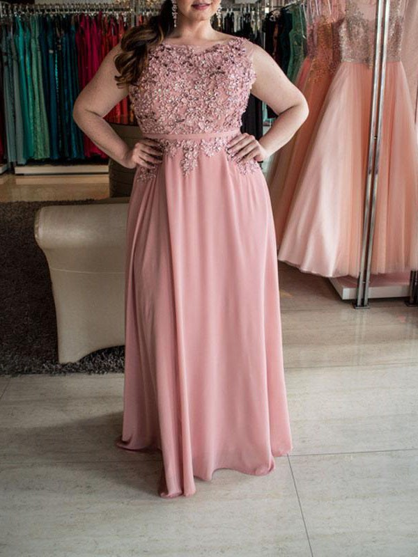 A-Line/Princess Bateau Sleeveless Chiffon Beading Floor-Length Plus Size Dresses