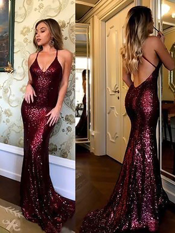 Sheath/Column V-neck Sleeveless Ruffles Long Dresses With Sequins