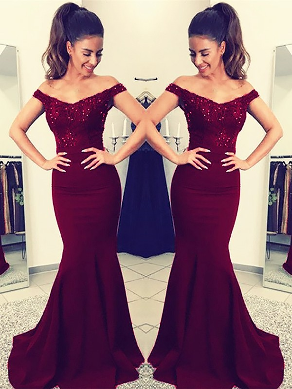 Trumpet/Mermaid Off-the-Shoulder Sleeveless Lace Sweep/Brush Train Satin Dresses