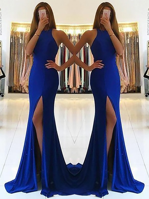 Sheath/Column Halter Sleeveless Ruffles Spandex Sweep/Brush Train Dresses