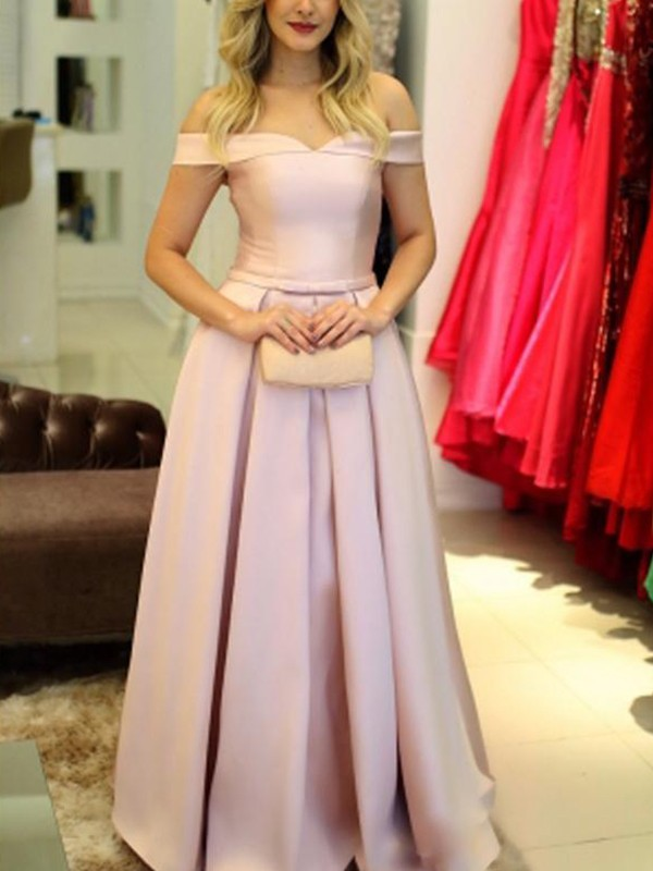 A-Line/Princess Off-the-Shoulder Sleeveless Ruffles Floor-Length Satin Dresses