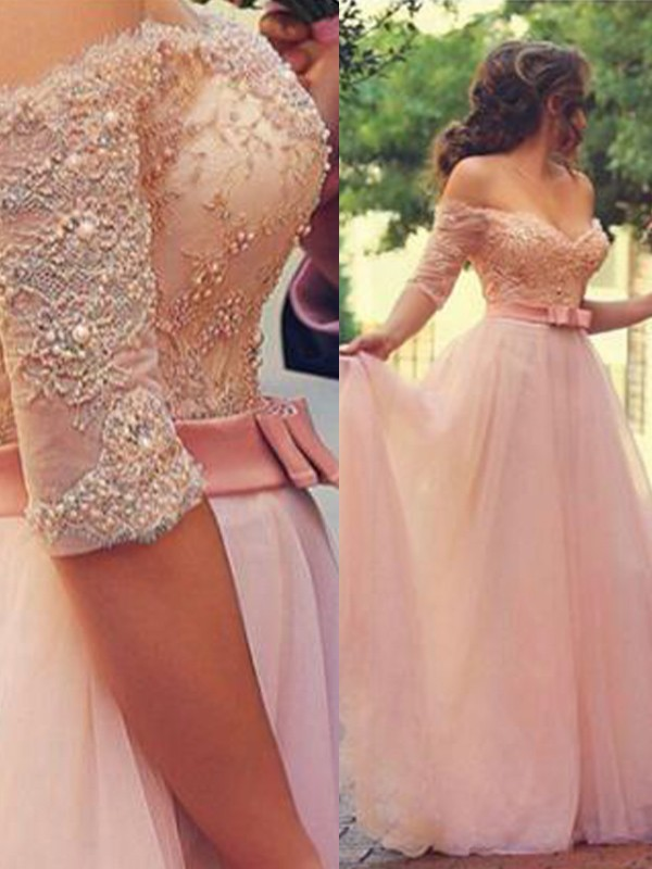 A-Line/Princess Off-the-Shoulder 1/2 Sleeves Floor-Length Lace Tulle Dresses