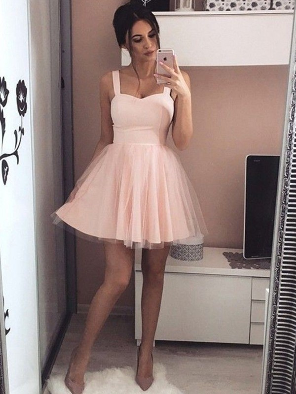 A-Line/Princess Straps Sleeveless Satin Short Dresses With Ruched