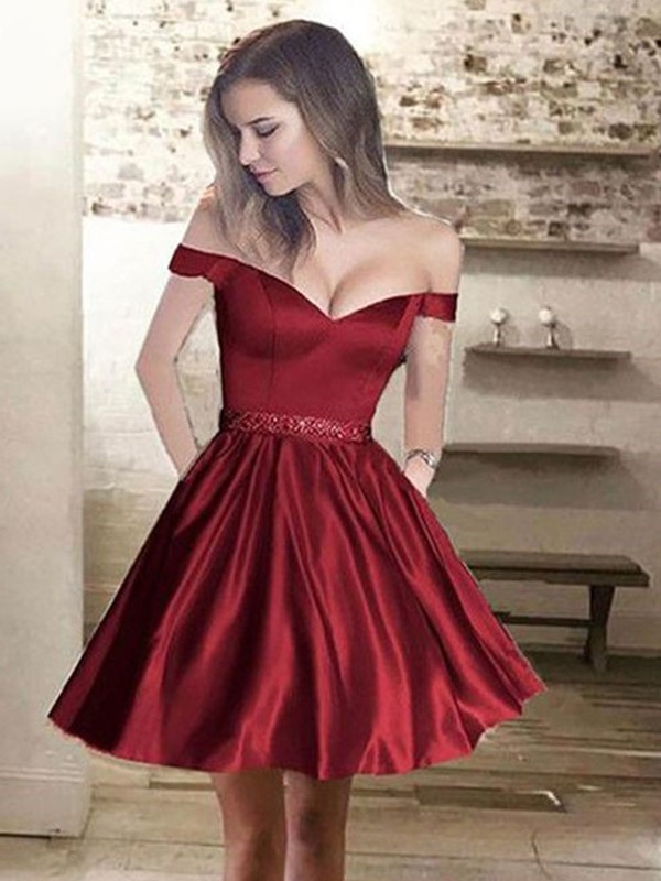 A-Line/Princess Off-the-Shoulder Sleeveless Satin Short Dresses With Beading