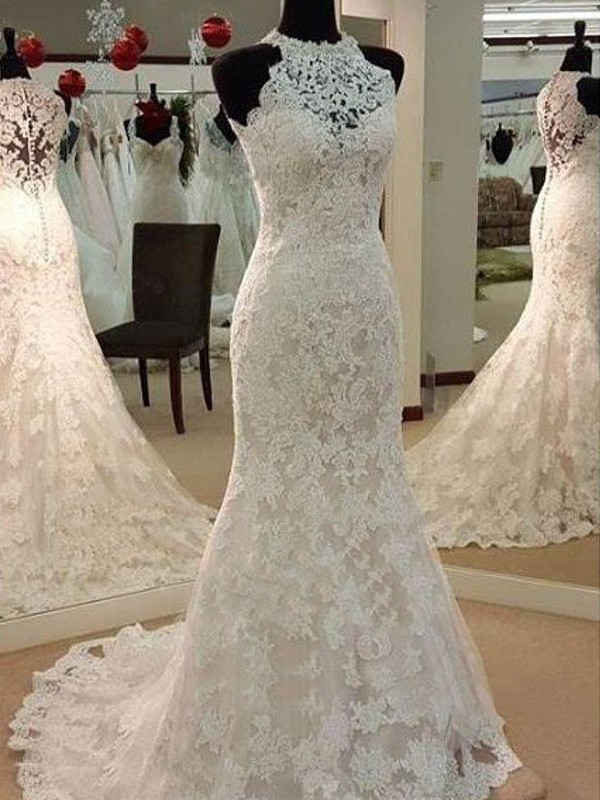 Sheath/Column Scoop Lace Sleeveless Sweep/Brush Train Wedding Dresses With Applique