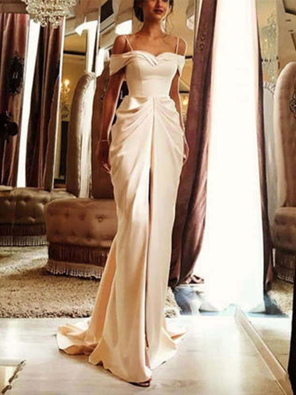 Sheath Off-the-Shoulder Short Sleeves Silk like Satin Sweep/Brush Train Wedding Dresses With Ruffles