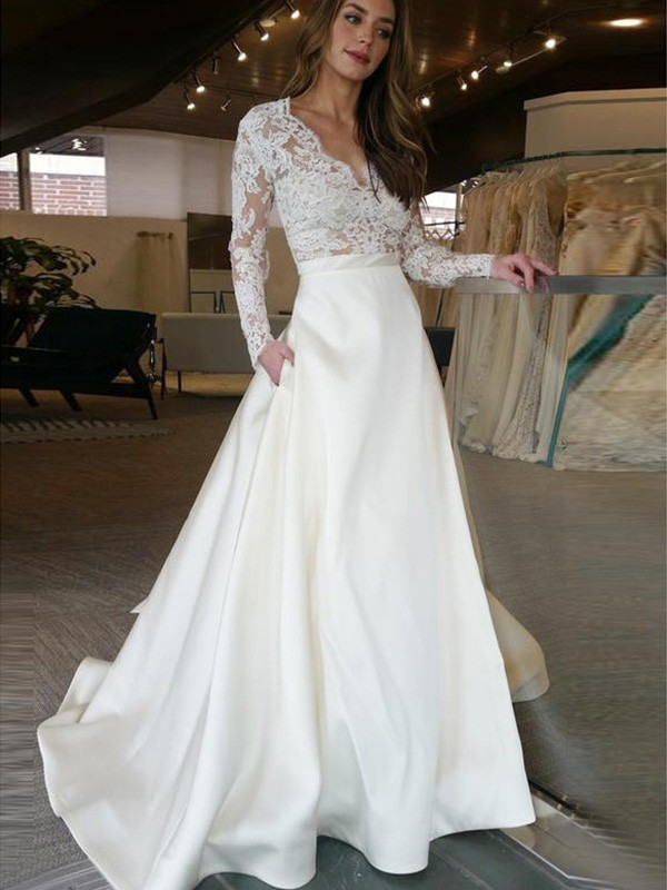A-Line/Princess V-neck Satin Long Sleeves Sweep/Brush Train Wedding Dresses With Applique