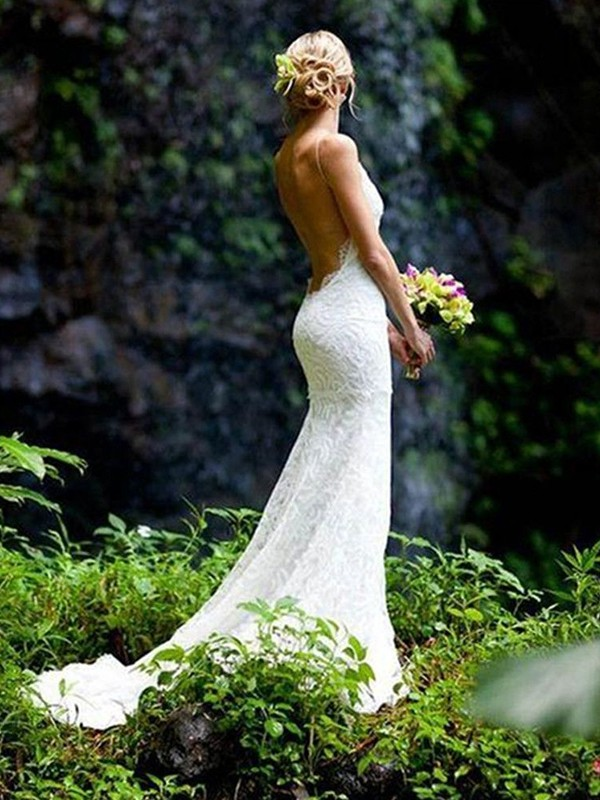 Sheath/Column Sleeveless V-neck Lace Spaghetti Straps Court Train Wedding Dresses